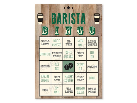 Barista Bingo 6 Card Pack Print Your Own Etsy