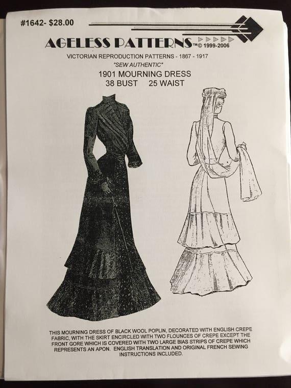 AP1642: Victorian Sewing Pattern Ladies 1901 Mourning Dress | Etsy