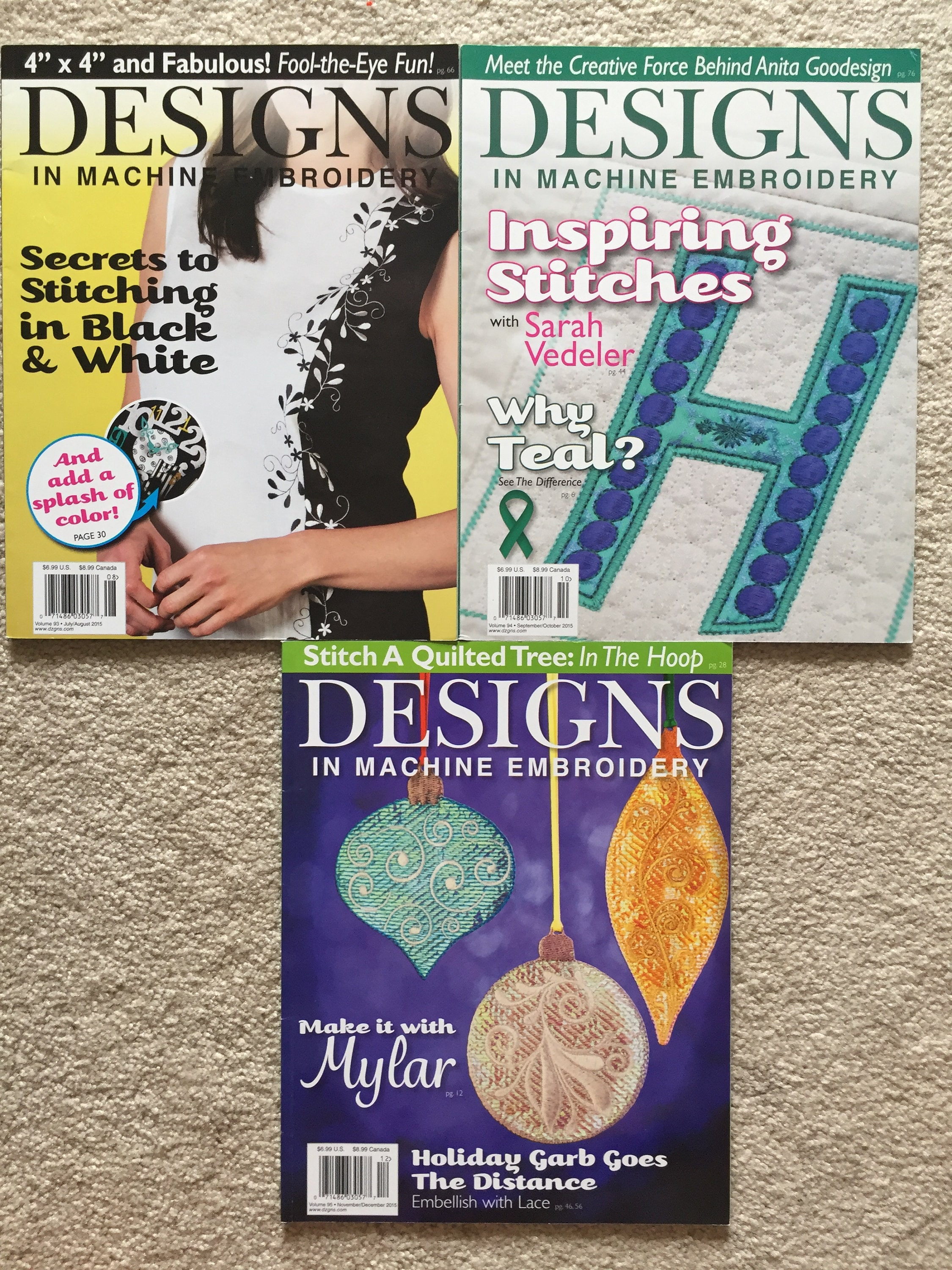 Designs In Machine Embroidery Magazines Julyaug Septoct Etsy