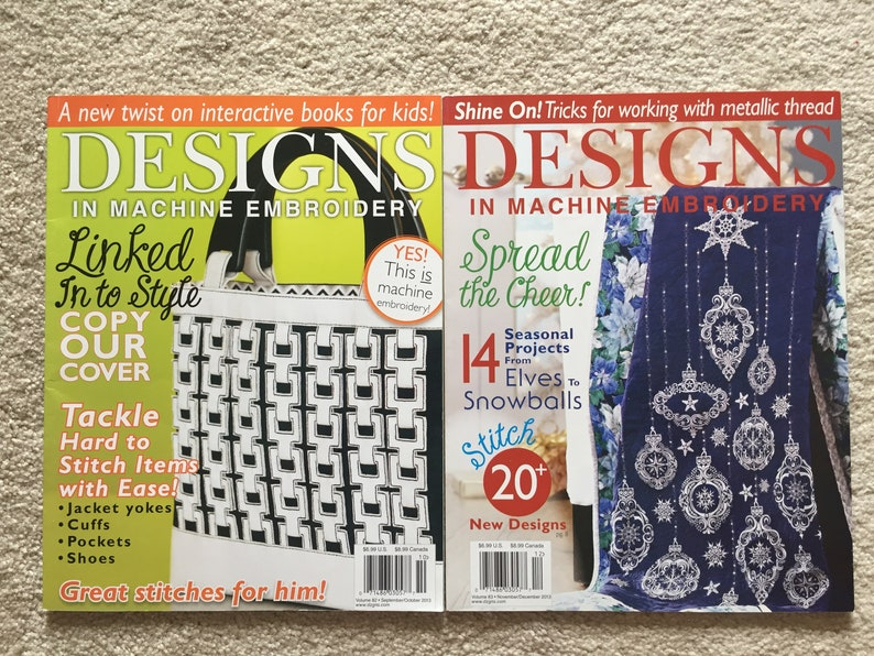 SeptOct 2011 issues MarApr Creative Machine Embroidery Magazines; JanFeb