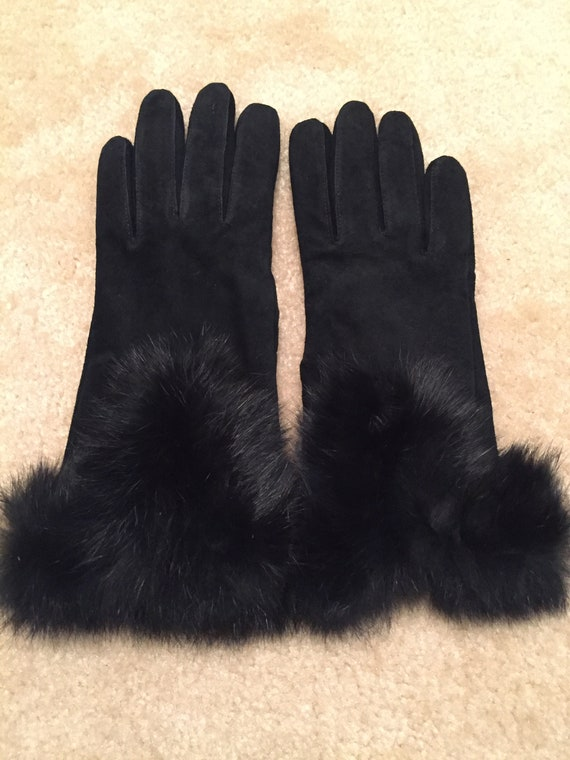 e17663746fb27 Classy Ladies Vintage Black Leather Gloves Fur Cuffs Size 7M | Etsy