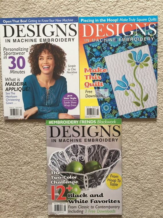Designs In Machine Embroidery Magazines Marapr Mayjun Etsy