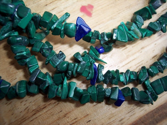 Gold Crystal Necklace Malachite Gemstone Chip Choker Malachite Crystal Necklace
