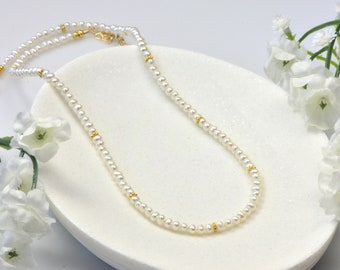 Gold Small Pearl Necklace