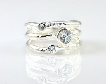 Three Brilliant Wavy Stacked Ring