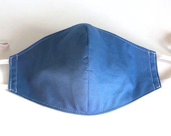 Pacific Blue 4 Layers Pure Cotton Face Mask, Nose Wire, Pocket Filter, Polypropylene Filter Insert & Adjustable Ear Loops