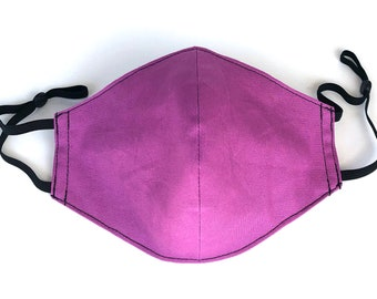 Magenta Pink 4 Layers Pure Cotton Face Mask, Nose Wire, Pocket Filter, Polypropylene Filter Insert & Adjustable Ear Loops