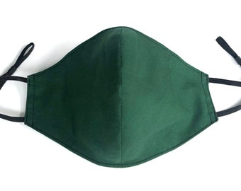 Hunter Green 4 Layers Pure Cotton Face Mask, Nose Wire, Pocket Filter, Polypropylene Filter Insert & Adjustable Ear Loops