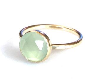 Gold Aqua Seafoam Quartz Ring