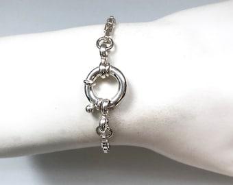 Silver Nautical Clasp Link Bracelet