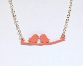 Bird Necklace, Pink Bird Necklace, Salmon Pink, Silver Necklace, Bird Branch, Bird Jewellery, Animal Jewellery, Bird Pendant