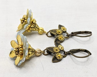 Earrings, Vintage, Bridesmaids, Antique, Bronze, Gold, Blue, Boho Chic, Bohemian, Vividcolors