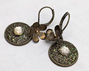 Vintage Bohemian Bronze Earrings, Elegant, Romantic, Flower, Rhinestone, VividColors Wedding Jewelry