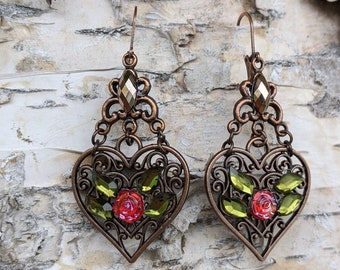 Earrings Heart vintage Valentines Day bohemian copper rose brown, red, green, flower romantic boho chic vividcolors