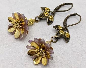 Earrings, Vintage, Bridesmaids, Antique, Bronze, Gold, Taupe, Boho Chic, Bohemian, Vividcolors