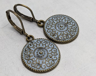 Earrings Vintage Bohemian Bronze, Blue, Pastel, Elegant, Romantic, Flower, VividColors