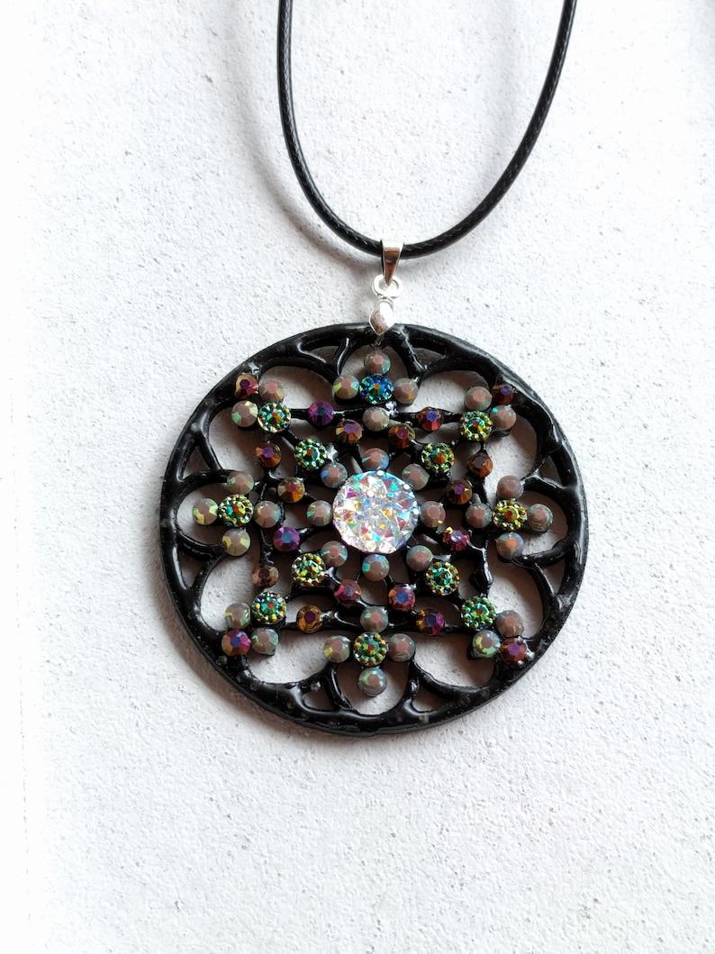 Mandala Pendant Necklace Black Bronze Flower Rhinestone VividColors Jewellery