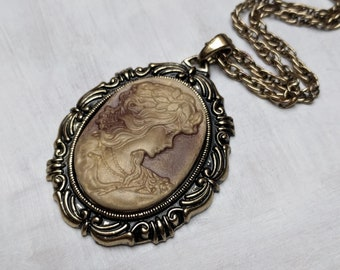 Vintage Victorian Antique Inspired Cameo Pendant Necklace, Gold Brass, Romantic, Casual Jewelry, VividColors Affordable Presents