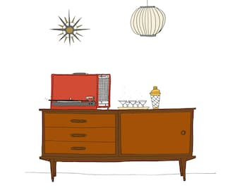 Mid-century living room scene with record player illustration art print