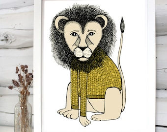 Lion in a sweater illustration print children's room decor