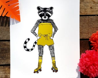 Raccoon in a Romper on Rollerskates print illustration print