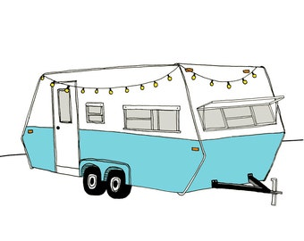 Vintage Camper art print. RV Trailer illustration