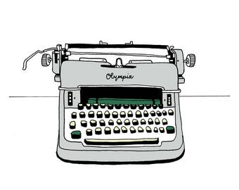 Olympia Typewriter Illustration print