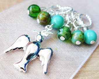 SALE - Like A Dove - Six Handmade Stitch Markers for Knitting or Crochet - 5.0mm (8 US) - Limited Edition