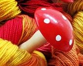 Little Red Polka Dot Mushroom Darner - Wood German UK Style Darning Egg for Socks and Handknits