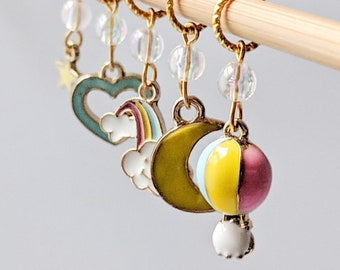 Up, Up And Away - Bright Collection - Five Handmade Stitch Markers - 4.5mm (7 US) - Limited Edition