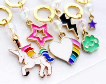 Stardust and Unicorns - Handmade Stitch Markers for Knitting or Crocheting  - 6.5mm (10.5 US) - Limited Edition