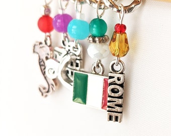 Autumn in Rome - Five Handmade Stitch Markers - World Traveller Series - 6.0mm (10 US) - Limited Edition - New