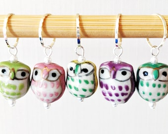 A Parliament of Owls - Handpainted Stitch Markers - 10.0mm (15 US) - Limited Edition - Final Sets