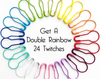 Kaleidoscope Twitches - Rainbow Removable Locking Stitch Markers Bulb Pins - Set of 24  - 6.0 mm (J) (US 10) - New for 2021!