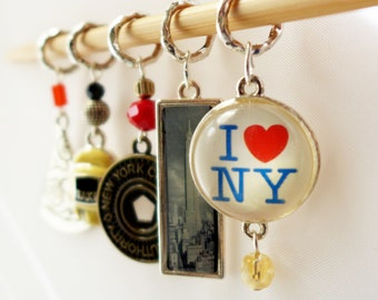 New York State Of Mind - Five Handmade Stitch Markers - World Traveller Series - 6.0mm (10 US) - Limited Edition