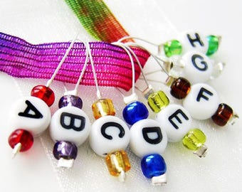 The ABC's of Knitting - Eight Snag Free Stitch Markers - Fits Up to 5.5 mm (9 US)