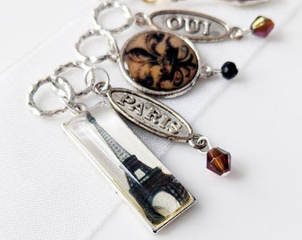April in Paris - Five Handmade Stitch Markers - World Traveller Series - 6.0mm (10 US) - Limited Edition - New