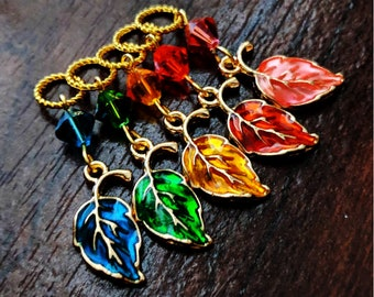 Autumn Rainbow Leaves - Five Gold Handmade Leaf Knitting Stitch Markers - Fits Up to 4.5mm (7 US) - Limited Edition