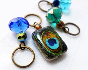 Peacock Dreams Stitch Markers - Handmade for Knitting or Crocheting - Fits Up To 9.0mm (13 US) - Final Sets