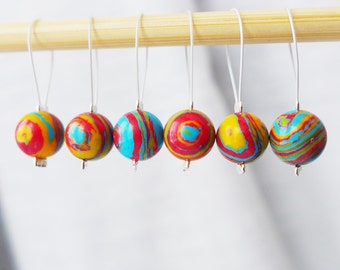 Rainbow Clouds - Six Snag Free Stitch Markers - Fits Up To 5.5 mm (9 US) - Last Sets