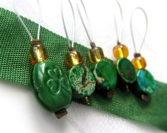 Luck of the Irish  - Five Snag Free Stitch Markers for Knitting - 5.5 mm (8 US) - Limited Edition