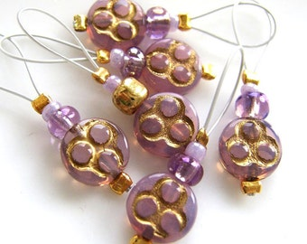 La Violet de l'invention - Six Snag Free Stitch Markers - Fits Up To 5.5 mm (9 US) - Limited Edition