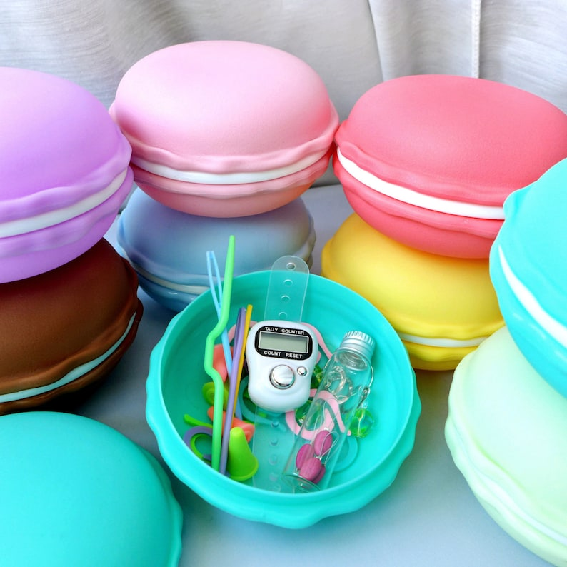 French Macaron Notions Kit  Cute Kawaii Supplies for Knitters image 0