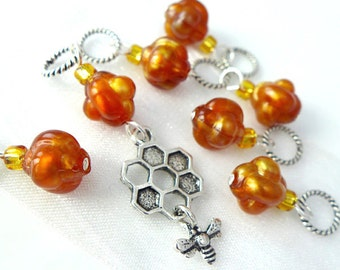 A Moment of Honey Stitch Markers - Handmade for Knitters - 5.0mm (8 US) - Final Sets