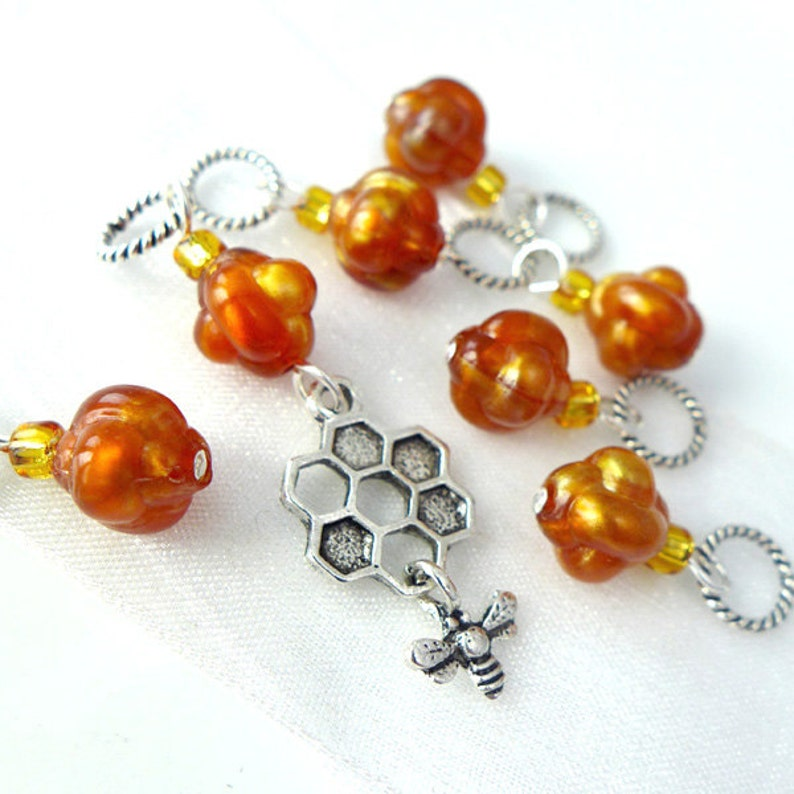 A Moment of Honey Stitch Markers  Handmade for Knitters  image 0
