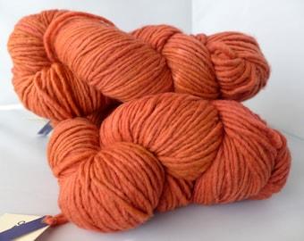 Malabrigo Yarn Merino Worsted - Garnet, 42 - Orange Red Worsted Aran Kettled Dyed Merino Yarn - LAST SKEIN