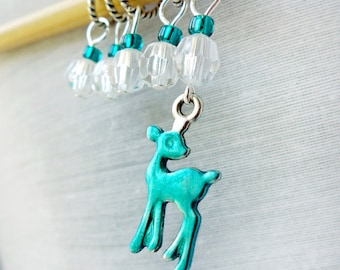 Teal Deer Stitch Markers - Handmade for Knitting or Crochet - Fits Up To 5.0mm (8 US) - Limited Edition