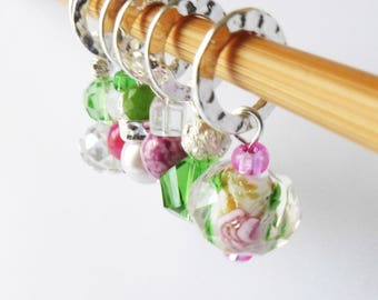 Heart of a Rose - Six Stitch Markers - Handmade Gifts for Knitters - 6.5mm (10.5 US) - Limited Edition