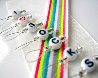 SALE - I Heart Socks - Six Snag Free Stitch Markers - Fits Up to 5.5 mm (9 US) - LAST Set