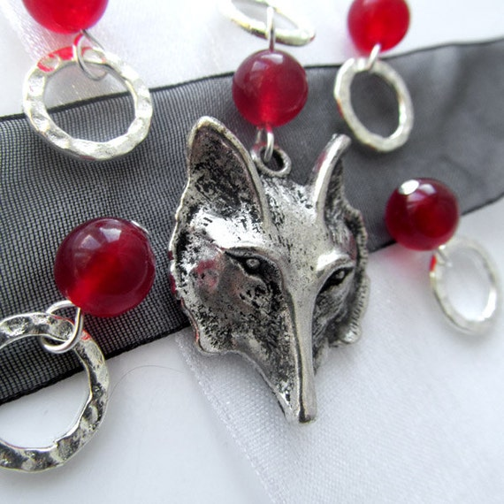 Red Riding Hood - Fairy Tale Series - Five Handmade Stitch Markers - 6.5 mm (10.5 US) - Open Edition